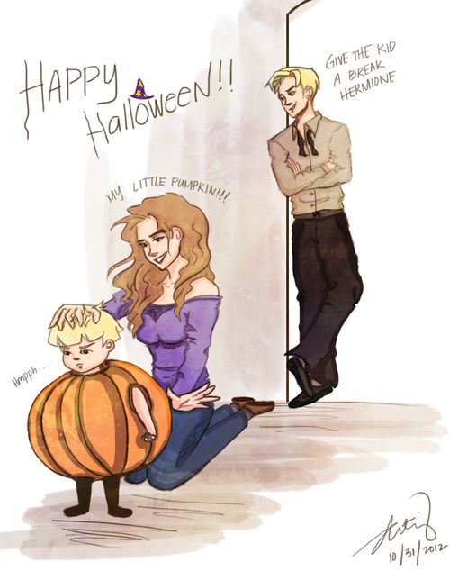 I love Dramione! Draco, his wife Hermione, and there son!