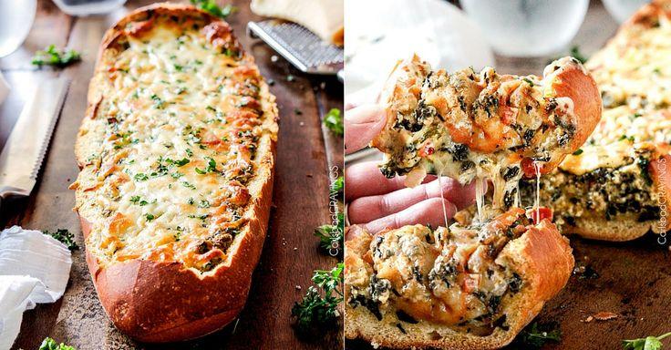 Zapékaná francouzská bageta se špenátem, česnekem a sýrem