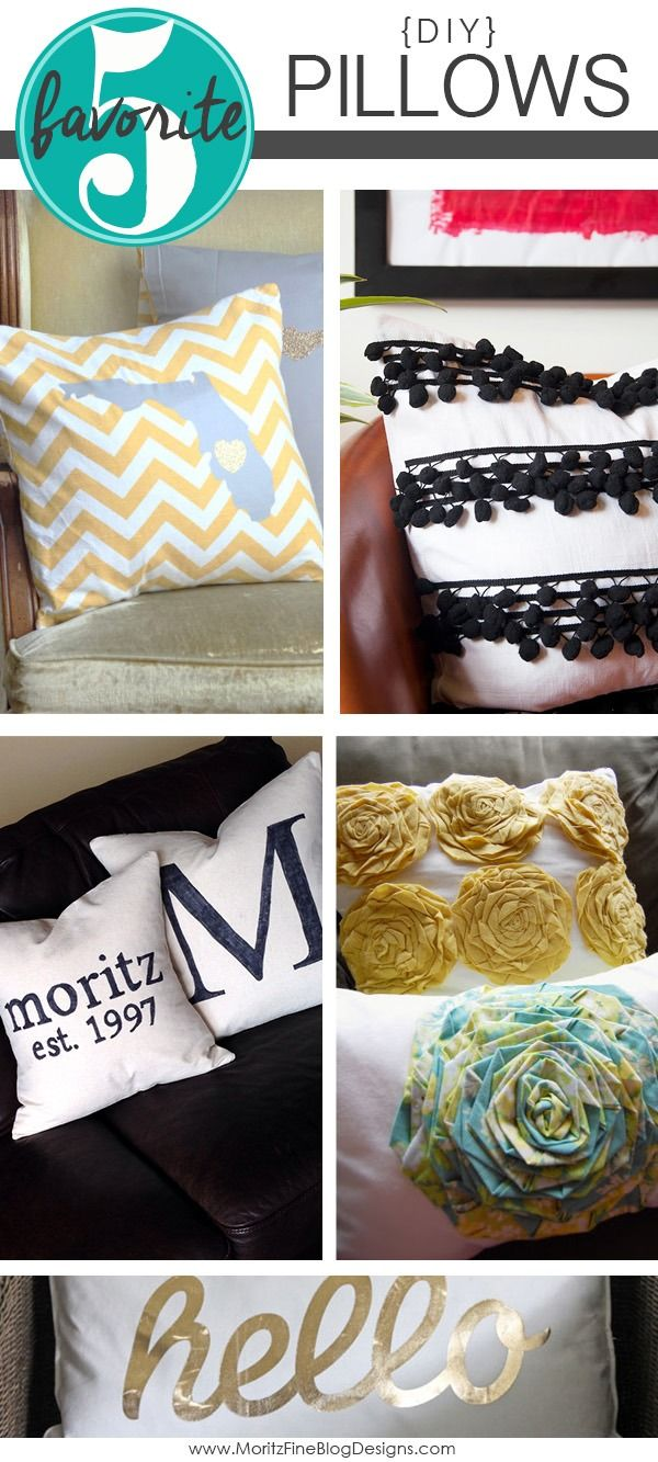 Fabulous and easy DIY pillow tutorials.  Quickly change the look of your room by changing out the pillows!