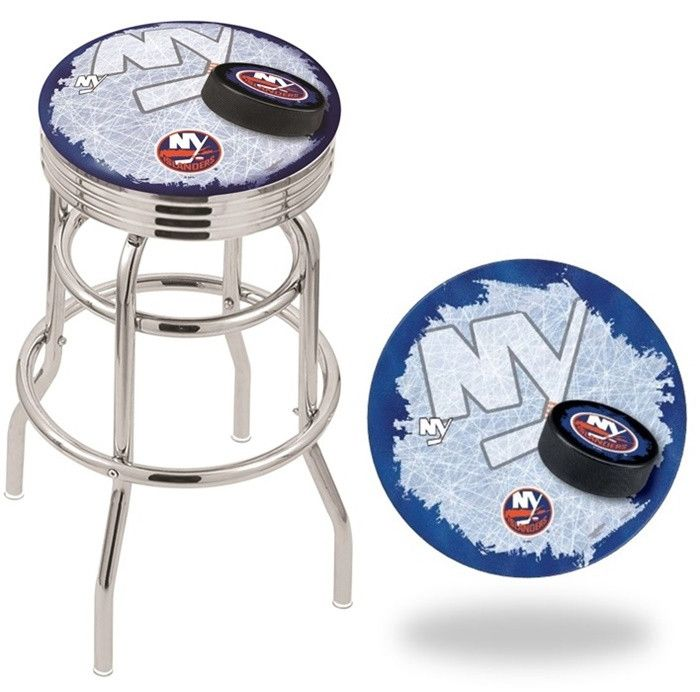New York Islanders NHL D2 Retro Chrome Ribbed Ring Bar Stool. Available in 25-inch and 30-inch seat heights. Visit SportsFansPlus.com for details.