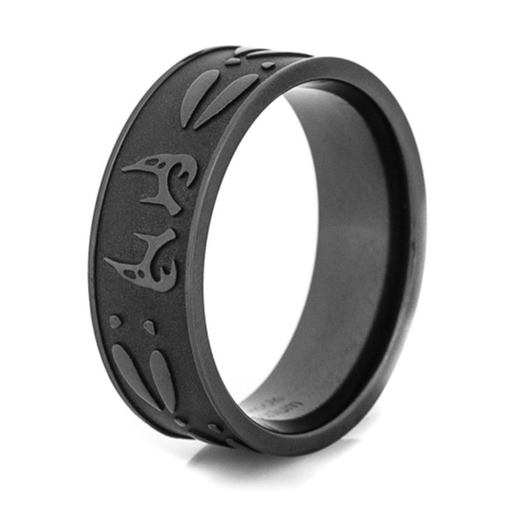 SHARDON Men's black Deer antler & tracks titanium ring Outdoor Hunting Engagement wedding band