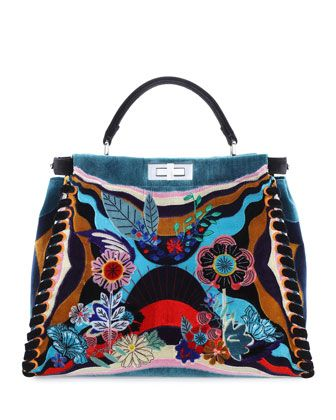 Peekaboo Large Embroidered Velvet Bag, Multi by Fendi at Bergdorf Goodman.