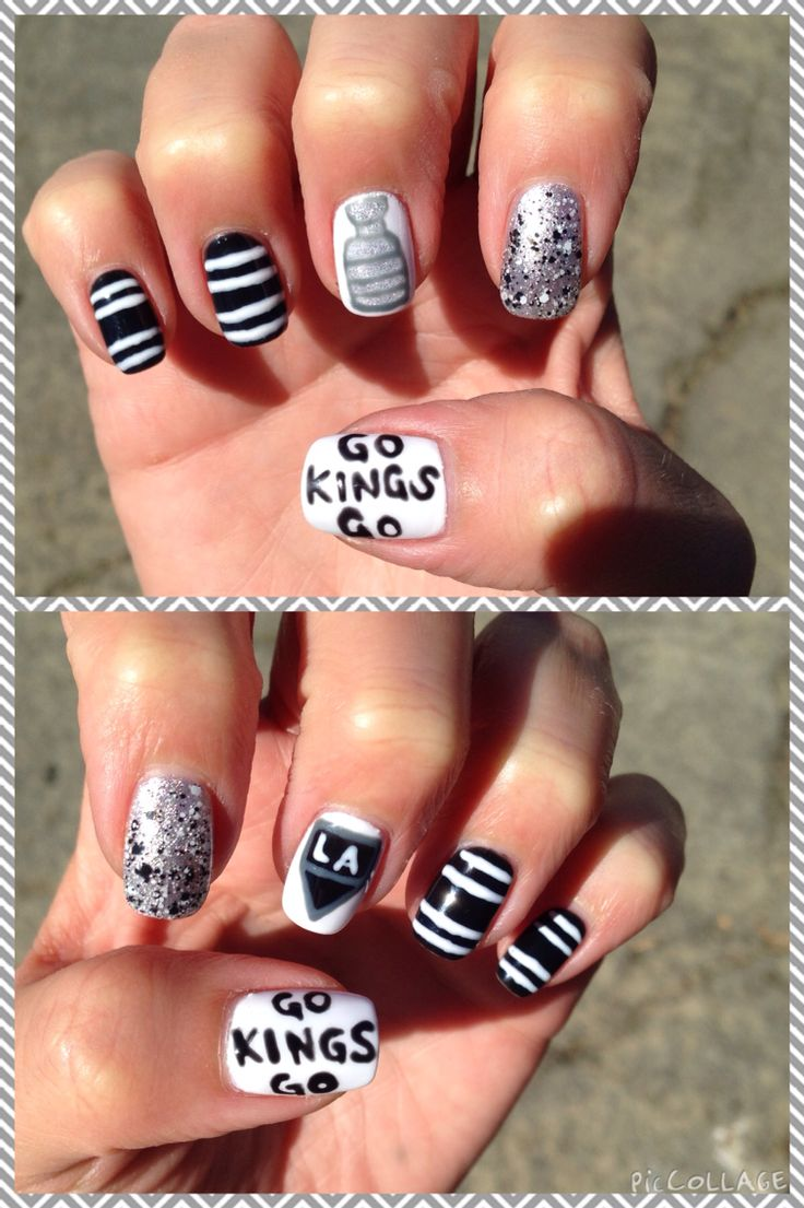 LA Kings nail art  stanley cup champions Los Angeles go kings go GKG