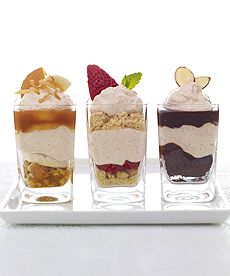 Mix & Match Spiced Mousse Dessert Shooters: Banana Cream Mousse, Strawberry Shortcake Mousse, & Fudge Brownie Mousse