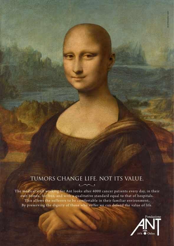 Mona Lisa syöpäjärjestön mainoksessa