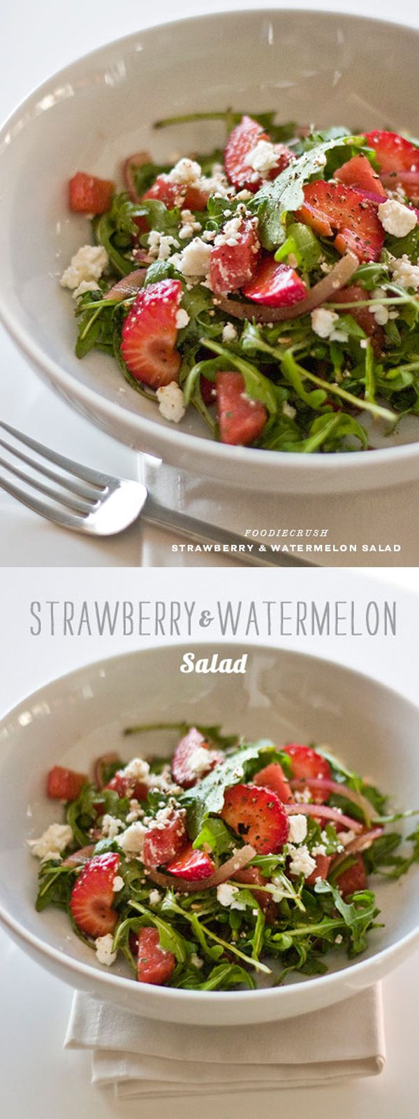 Strawberry Watermelon Salad with Arugula and Feta on foodiecrush.com with has an easy balsamic dressing sweetened with agave