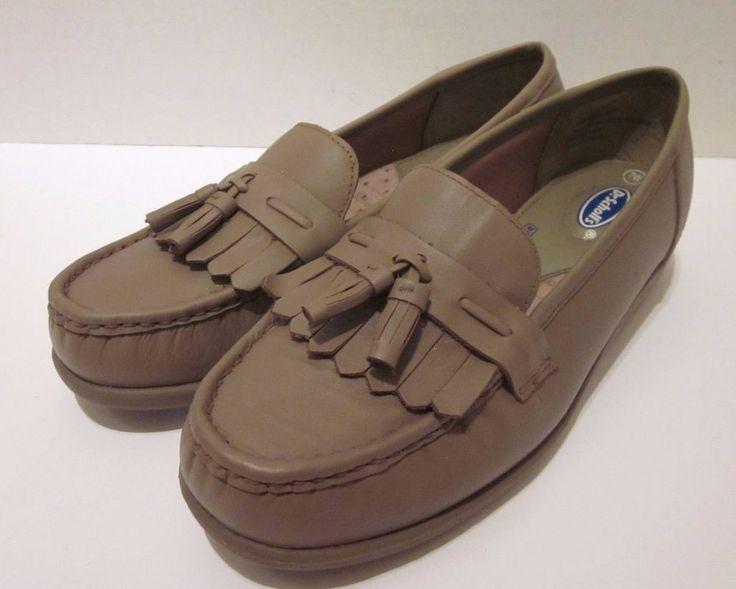 Dr Scholl's Beige Loafers Size 7 W Leather Comfort Cushion Sole Double Air  Pillo #DrScholls