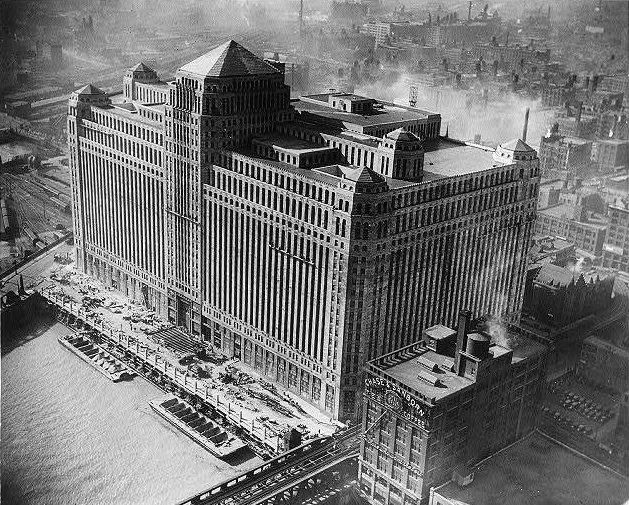 The Merchandise Mart nears completion, then world's largest building, 4 million sq ft, 1930.