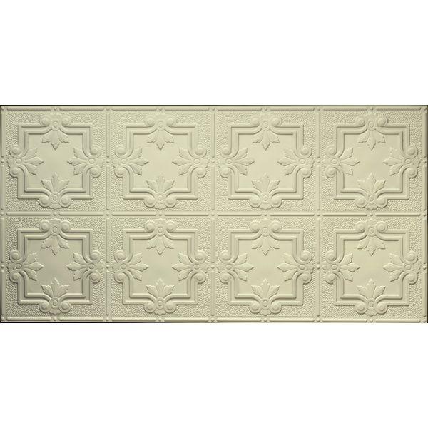 Fleur De Lis Pattern 2 Ft X 4 Ft Glue Up Ceiling Tile In Creme Faux Tin Tin Ceiling Tiles Ceiling Tile