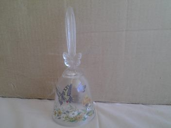 Avon Crystal Glass Bell W/ Flowers and Butterflies 1990