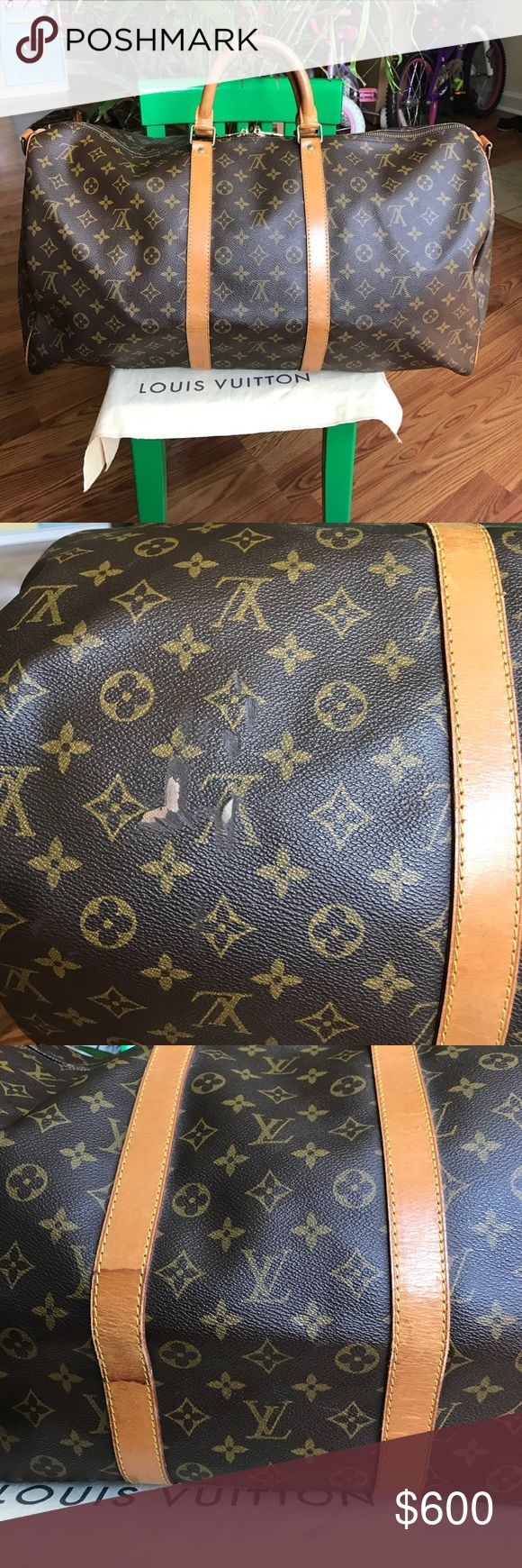 🔴LAST PRICE🔴Louis Vuitton Keepall Bandoulièr 55 Louis Vuitton Keepall Bandoulièr 55. Obvious signs of use such as stains and scratches. Inside looks ok with few stains. Handles are very dark. A burn mark on bottom. Brassware has peeling. No strap or other accessories included. It will be shipped by itself. Lots of life left but with wear. Corners have scratches but no piping is showing. Some oxidation can be seen on studs. An old smell can be detected. Date code is fading SP 0051. NO…
