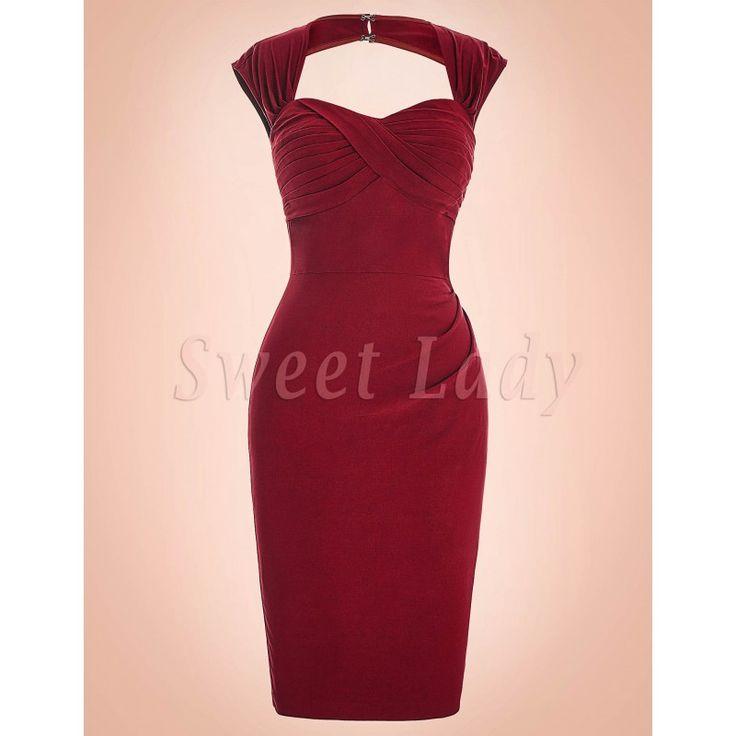 Elegantné priliehavé červené šaty v štýle 50.roky