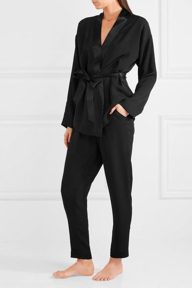 Eres - Lou Lou Satin-trimmed Silk-chiffon Pajama Pants - Black -