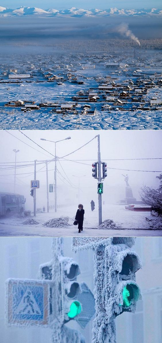 Oymakon, Russia is the coldest city on earth.