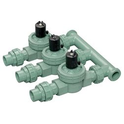 Sprinkler valve manifold combines several valves in a single unit. Photo: Orbit