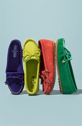 Love the green » Minnetonka 'Kilty' Suede Moccasin (Nordstrom Exclusive Color)   Nordstrom