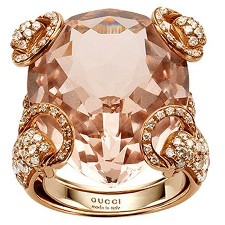 Fancy Gucci Rose Gold Horsebit Ring with Morganite and White Diamonds