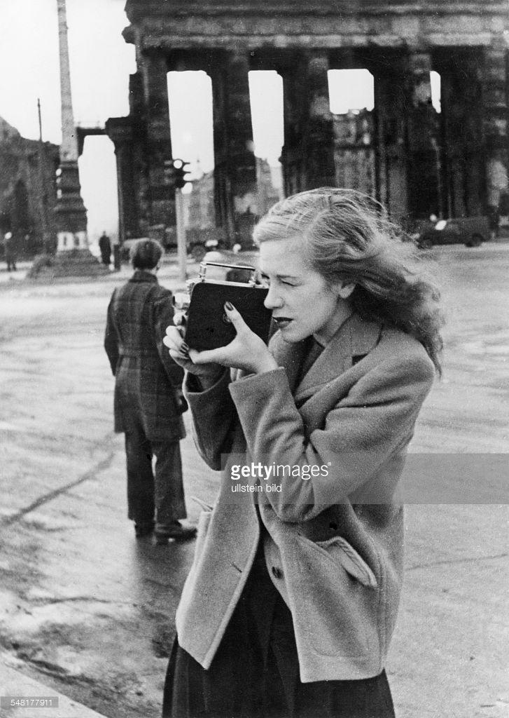 Hildegard Knef. Photographed at the Brandenburg Gate in Berlin, 1947.