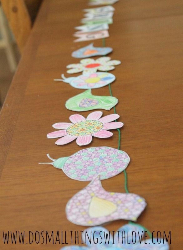 "FREE PRINTABLE ""Come Spring"" banner the kids can color and then hang--with sheets of birds, lady bugs and flowers to color too!"