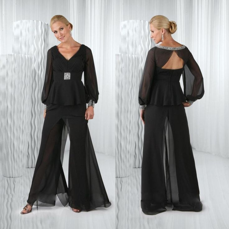 Mother of the bride dresses on sale plus size 2015 black for Dress pant suits for weddings plus size