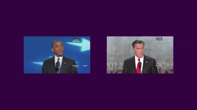 R. Luke DuBois  Acceptance, 2012  Generative hi-definition video, color, with sound    Acceptance takes the acceptance speeches given by President Barack Obama and Governor Mitt Romney at their respective party conventions in 2012, and subjects them to a never-ending editing process based on their language.  The two monologues, each approximately 40 minutes long, contain around 1500 unique words, 85% of which overlap between the two speakers.