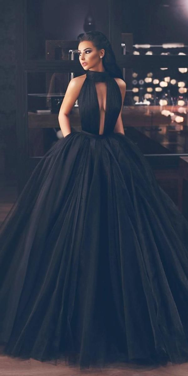 33 Beautiful Black Wedding Dresses That Will Strike Your Fancy In 2020 Fancy Wedding Dresses Ball Dresses Black Ball Gown