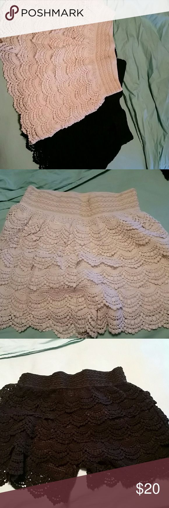 EUC Giddy Up Glamour crochet lace shorts Set of 2 crochet lace shorts. Perfect for summer! Dress them up or dress them down, these make a perfect addition to your summer wardrobe. Worn only once each. Originally $20 a piece. Giddy Up Glamour Shorts