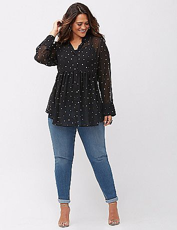 Semi-sheer babydoll top gets a gold star for its shimmering foil print and feminine fit. Pointed collar, partial button placket and long sleeves.  We love it as a fresh twist to the tunic, with your favorite skinny jeans or leggings. Layering piece sold separately. lanebryant.com