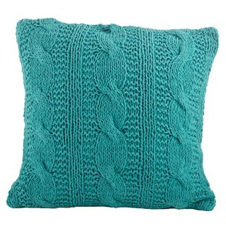 Cable knit teal pillow