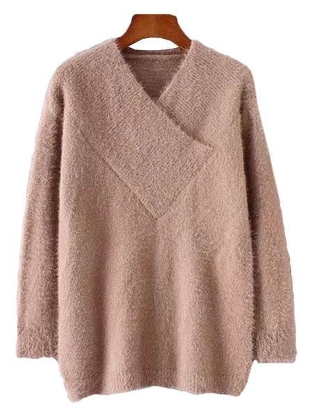 'Miami' Fuzzy Wrap V-neck Sweater ( 3 Colors Available ) – Goodnight Macaroon