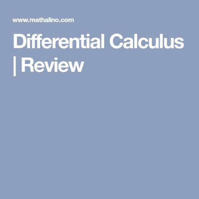 Differential Calculus | Review