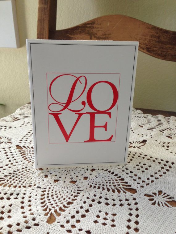 Love Card with Red Type Plain inside by PlainSpeak on Etsy, $2.50