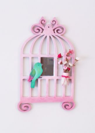 Handmade birdcage for the wall.