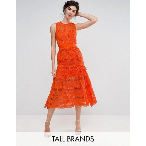 True Decadence Tall Allover Lace Prom Midi Skater Dress (€145) ❤ liked on Polyvore featuring dresses, orange, midi skater dress, maxi prom dresses, high neck lace dress, lace maxi dress and high neck prom dresses