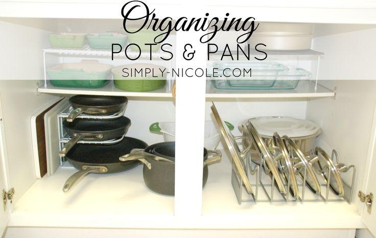 Organizing Pots and Pans at simply-Nicole.com #organizing #organize #DIY #homedecor #kitchenorganization #kitchen