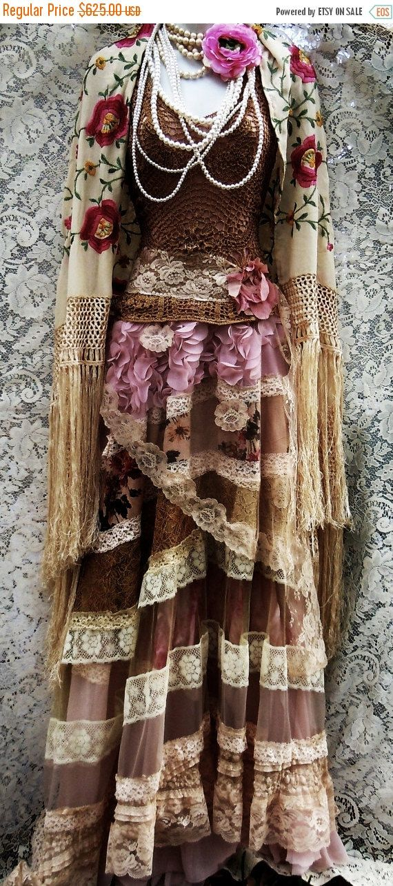 Valentines Sale Lace roses  dress tea stained  crochet tulle vintage  bohemian romantic small by vintage opulence on Etsy
