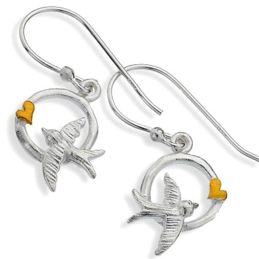 Sterling Silver Jewellery UK: Sterling Silver Circle Drops with Gold Heart and Swallow Design