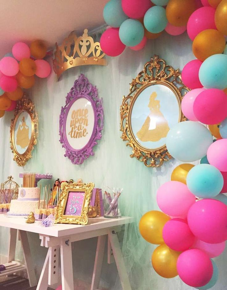 Princess Birthday Party Food And Decorations In 2020 Princess Birthday Party Decorations Princess Theme Party Princess Theme Birthday Party