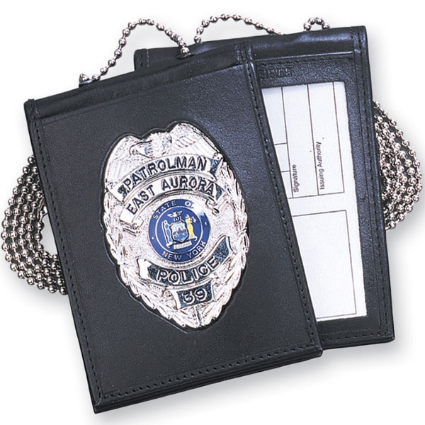 Strong Leather-Recessed Police Badge Wallet & ID Holder