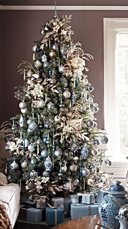 White Christmas Tree Blue Ornaments : Best images about christmas trees on blue and