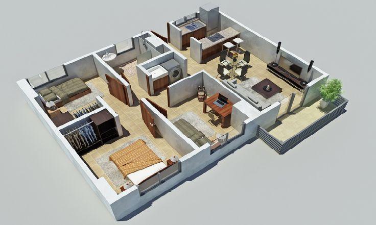 Plano 3d Casa Depto 3 Dormitorios Planos 3d