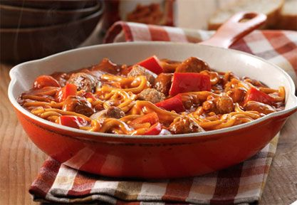 Red Pepper and Spicy Sausage Skillet -- made with 2 cans of Chef Boyardee Spaghetti & Meatballs, red peppers, spicy sausage and cheese on top!