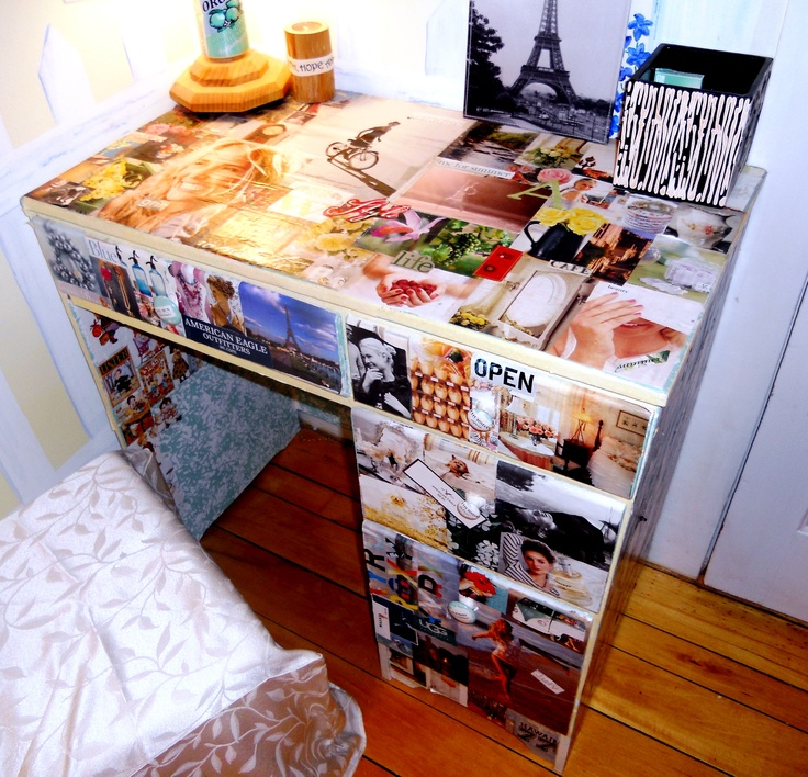 Garage sale purchased desk + decoupaged with pictures. Best idea i ever had!!!!