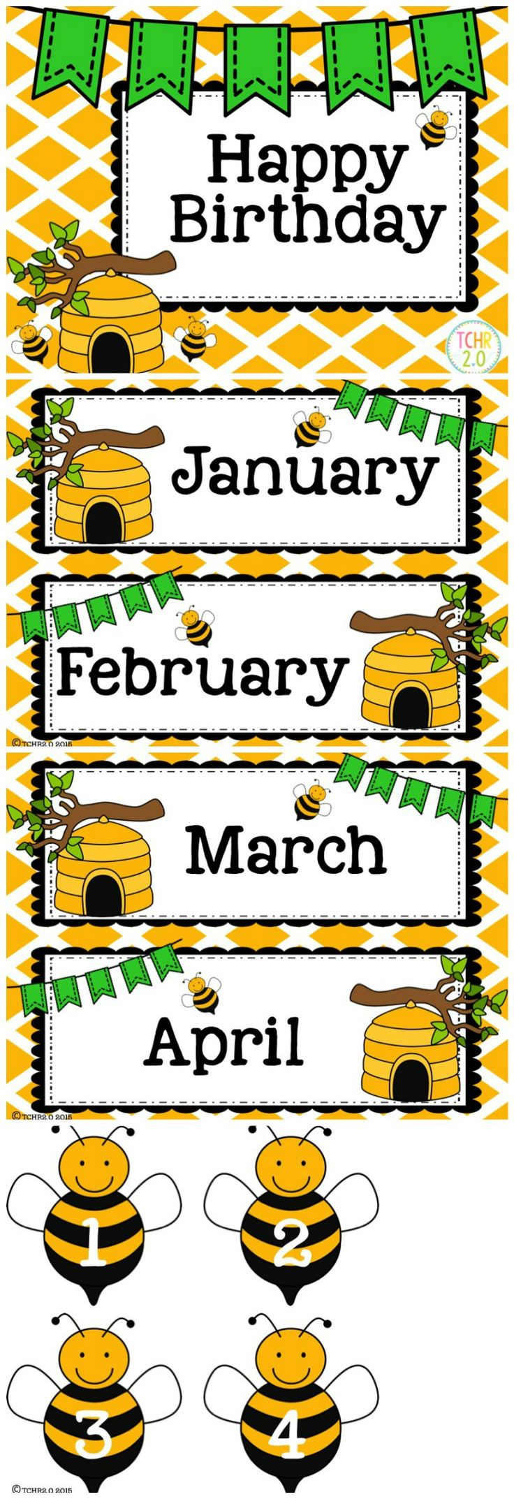 Have the children hold a bee with the number of the day of their birthday and take their picture. Print their picture and then put it under the month of their birthday. So the bulletin board will be made with their pictures.