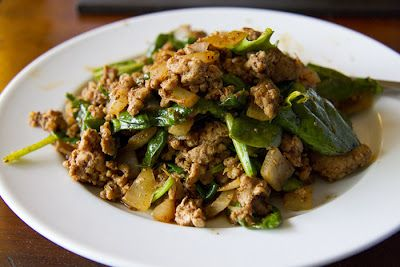 Simple and Quick Pork and Spinach