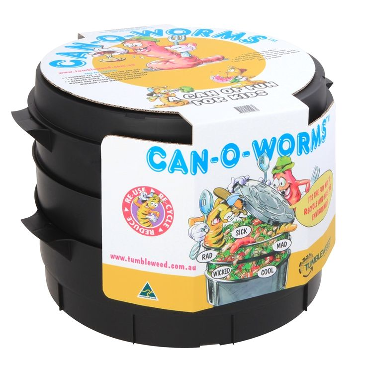 Can O Worms 2 Tier Composter $67 BunningsFly proof ventilated lid 2 x large capacity working trays Ventilated collector tray, tap and legs Coir brick and instruction booklet