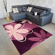 Tappeto Salotto ART Moderno Capelli Lunghi – Colore Viola Scuro Motivo Fiori – Morbido - Facile Da Pulire – Migliore Qualità – Diverse Misure S-XXXL 240 x 330 cm
