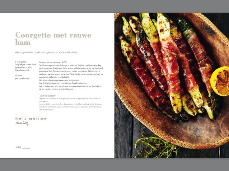 Courgette met rauwe ham. Recept Pascale Naessens
