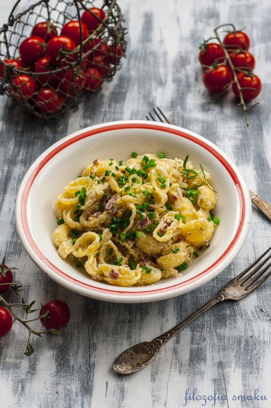 Makaron z mascarpone i boczkiem/pasta with bacon & mascarpone