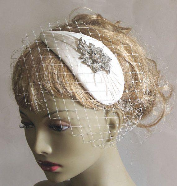 Ivory bridal retro cocktail hat - rhinestone wedding hat - vintage style bandeau veiled bridal fascinator
